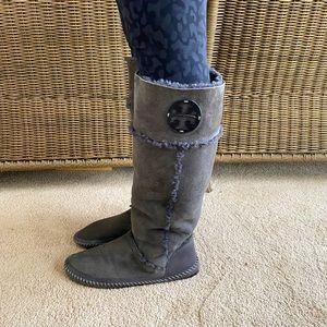 Tory Burch Shearling Boots- Grey